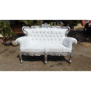 DECO PRIVE - banquette baroque blanche et bois argenté et simil - 2 Seater Sofa