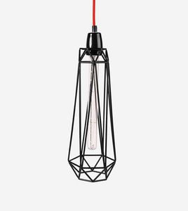 Filament Style - diamond 2 - suspension noire câble rouge ø18cm   l - Hanging Lamp