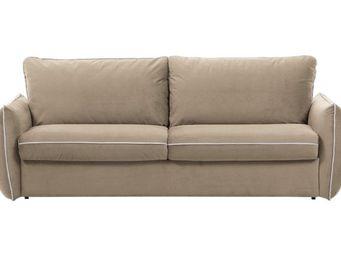 WHITE LABEL - canapé fixe linus 2 places en microfibre beige - 2 Seater Sofa
