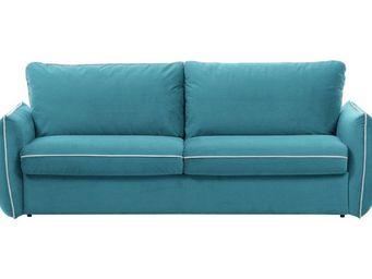 WHITE LABEL - canapé fixe linus 2-3 places bleu azur - 2 Seater Sofa
