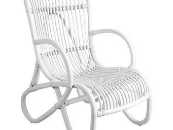 Aubry-Gaspard - fauteuil en rotin patiné nice blanc - Armchair