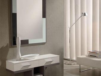 WHITE LABEL - meuble d\'entrée blanc/cendre + miroir - braha - -