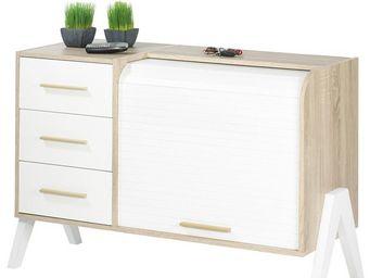 WHITE LABEL - meuble d\'entrée à rideau, 3 tiroirs - arkos n°2 -
