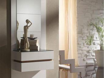 WHITE LABEL - meuble d\'entrée blanc/noyer + miroirs - loumi - -