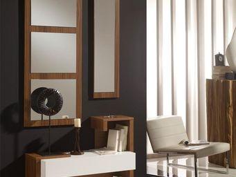 WHITE LABEL - meuble d\'entrée blanc/noyer + miroirs - paris - -
