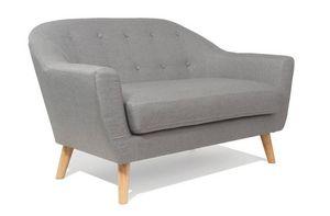 WHITE LABEL - canapé scandinave utmärkt 2 places gris silver - 2 Seater Sofa