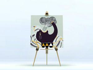 la Magie dans l'Image - toile ogre pluie fond gris - Digital Wall Coverings