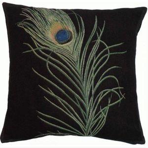 Art De Lys - plumes de paon - Square Cushion