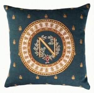 Art De Lys - napoléon, fond bleu - Square Cushion