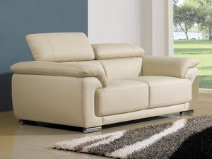 WHITE LABEL - canapé cuir 2 places marjorie - 2 Seater Sofa