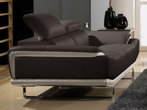 WHITE LABEL - canapé cuir 2 places osmoz - 2 Seater Sofa