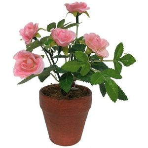CHEMIN DE CAMPAGNE - rosier artificiel rose 17 cm - Artificial Flower