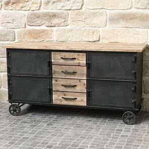CHEMIN DE CAMPAGNE - bahut buffet meuble à roulettes industriel campagn - Base Cabinet