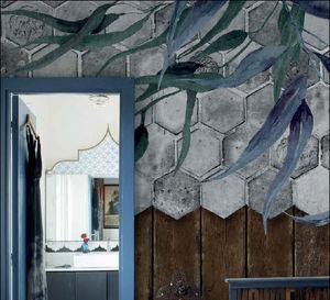 CR CLASS - floral tiles - Wallpaper