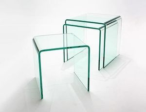 Abode Interiors - nest of 3 glass side tables - Nest Of Tables