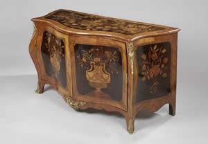 F P FINE ART - george iii ormolu mounted harewood marquetry serpe - Secretary Desk