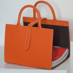MIDIPY - range revues en cuir orange - Magazine Rack