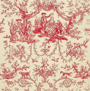 Chez Gersaint Antiquités - toile de jouy modèle greuze rouge - Toile De Jouy Print Material
