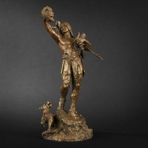 Expertissim - retour de chasse en bronze signé flamand - Figurine