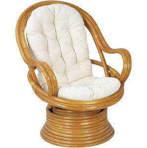 Aubry-Gaspard - fauteuil en rotin pivotant et basculant avec couss - Swivel Armchair