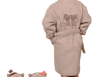 SIRETEX - SENSEI - peignoir enfant brodée cat dinner - Children's Dressing Gown