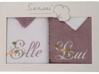 SIRETEX - SENSEI - coffret cadeau 4 pièces 2 serviettes brodées + 2 g - Bath Glove