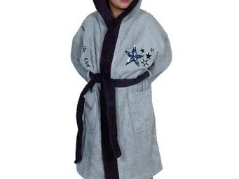 SIRETEX - SENSEI - peignoir enfant bicolore capuche star gris - Children's Dressing Gown