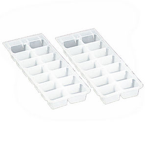 WHITE LABEL - lot de 2 bacs de 14 gla?ons en plastique souple - Ice Tray