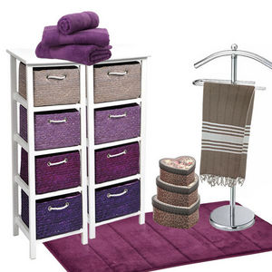 WHITE LABEL - meuble laqué avec 4 panières en paille - Bathroom Shelf