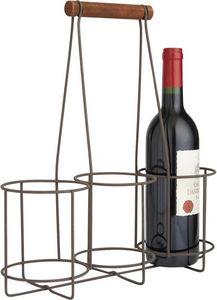 Aubry-Gaspard - panier 3 bouteilles en métal vieilli et bois - Wine Bottle Tote