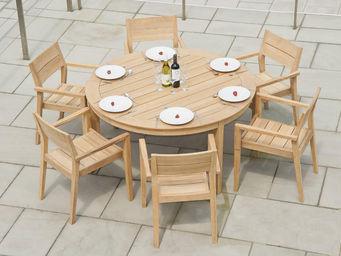 Alexander Rose - salon de jardin 6 places rond tivoli en roble fsc - Round Garden Table