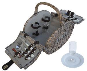 AUBRY GASPARD - panier en osier gris pique-nique 2 couverts 35x26x - Picnic Basket