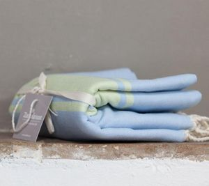 Zandaraa - fouta plate ciel et anis - Fouta Hammam Towel