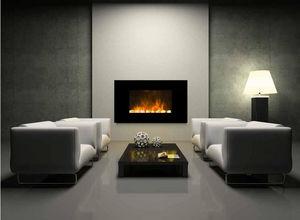 CHEMIN'ARTE - cheminée design black screen en acier et verre tre - Fireplace Insert