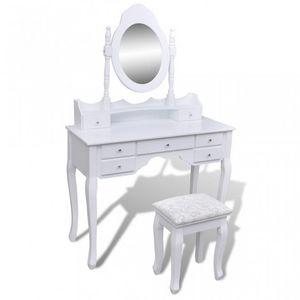 WHITE LABEL - coiffeuse avec miroir et tabouret blanc - Dressing Table