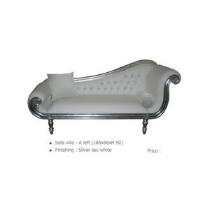 DECO PRIVE - méridienne de style argentée et simili cuir blanc  - Lounge Sofa