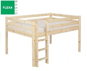 Flexa - lit mi haut flexa en pin vernis naturel couchage 9 - Mezzanine Bed