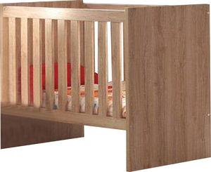 WHITE LABEL - lit bébé évolutif coloris chêne chambord design - Baby Bed