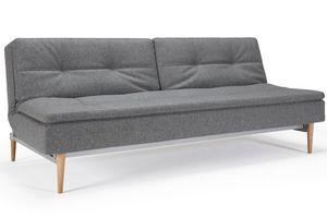 INNOVATION - canapé design dublexo gris granite piétement chêne - Futon