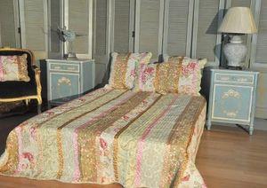 Demeure et Jardin - boutis king size imprimé fleurs avec ruban - Matelasse Bedspread