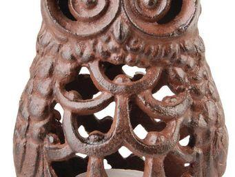 Esschert Design - lanterne en fonte chouette - Outdoor Candle Holder