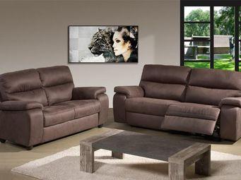 WHITE LABEL - canapé relax électrique 3p + canapé fixe 2p - acba - 2 Seater Sofa