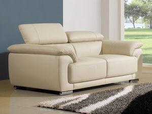 WHITE LABEL - canapé cuir 2 places marjorie - 2 Seater Sofa