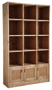 Aubry-Gaspard - bibliothèque 12 cases 3 portes en épicéa ciré miel - Open Bookcase