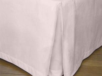 Liou - cache-sommier plis creux rose poudré - Bedskirt
