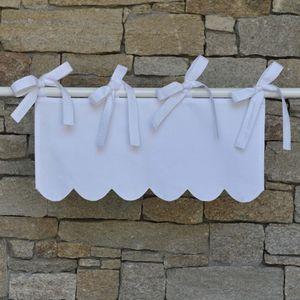 MAISON D'ETE - mini cantonnière feston en coton blanc - Valance