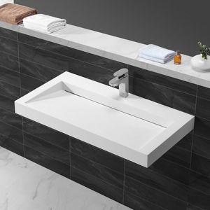 Rue du Bain - lavabo suspendu rectangulaire blanc mat composite - Wall Mounted Washbasin