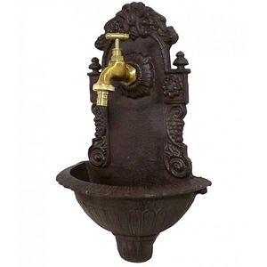 CHEMIN DE CAMPAGNE - style ancienne fontaine fonte marron robinet laito - Wall Fountain