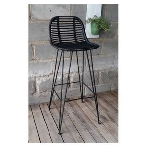 Mathi Design - tabouret design grafik noir - Bar Chair