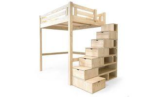 ABC MEUBLES - abc meubles - lit mezzanine alpage bois + escalier cube hauteur réglable vernis naturel 160x200 - Mezzanine Bed